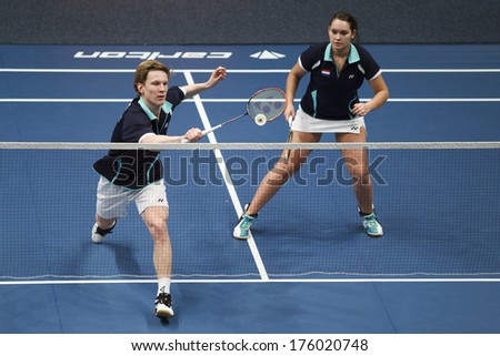 ALMERE - FEBRUARY 2: Robin Tabeling and Myke Halkema lose their match in the semi finals in the National Championships badminton 2014 in Almere, The Netherlands on February 2, 2014. - stock photo