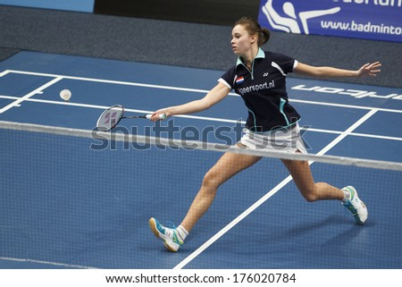 ALMERE - FEBRUARY 2: Soraya de Visch Eijbergen reaches the final in the National Championships badminton 2014 in Almere, The Netherlands on February 2, 2014. - stock photo