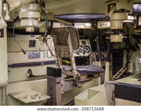 ALMERE, NETHERLANDS - 23 APRIL 2014: Inside a Dutch military armored fighting vehicle on display during the National Army Day in Almere - stock photo