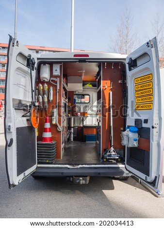 ALMERE, NETHERLANDS - 12 APRIL 2014: Look inside a van of the Dutch forensic investigation service on display during the first National Security Day held in the city of Almere