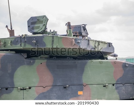ALMERE, NETHERLANDS - 12 APRIL 2014: Top of a Dutch military armored fighting vehicle on display during the first National Security Day held in the city of Almere