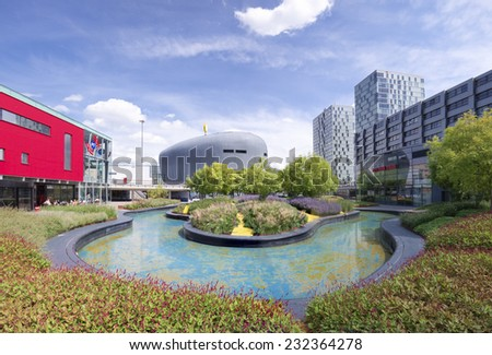 ALMERE, NETHERLANDS - AUGUST 3, 2014: Modern architecture. Almere is the youngest city in the netherlands and lies completely below sea level (2 to 5 meters) - stock photo