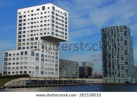 Almere Stad, Flevoland, The Netherlands - Januari 30, 2015: Skyline apartment buildings of Almere Stad - Silverline, The wave and Almere Towers