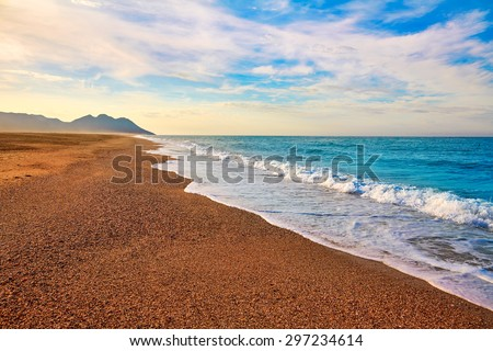 Almeria Cabo de Gata San Miguel beach shore in Spain - stock photo