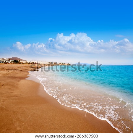 Almeria Mojacar beach in Mediterranean sea of Spain - stock photo