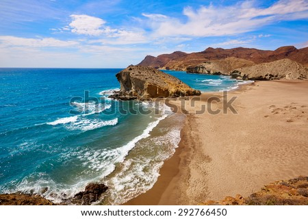 Almeria Playa del Monsul beach at Cabo de Gata in Spain - stock photo