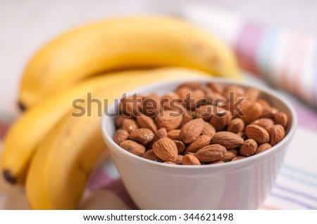 Almond and banana - stock photo