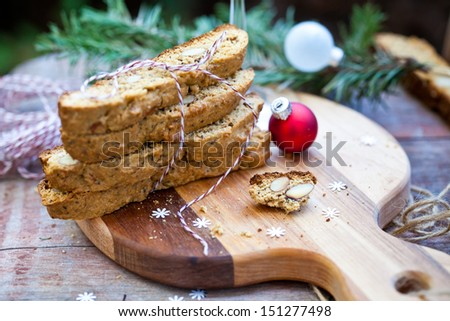 Almond Biscotti with Glass of Wine for Christmas. Also available in vertical format.  - stock photo
