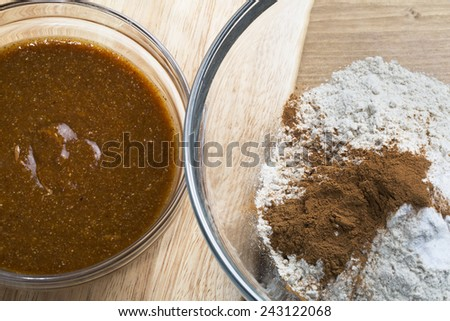Almond butter and flour for baking cookies. - stock photo