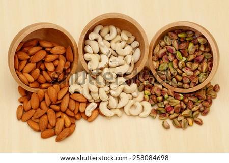 Almond,cashew and pistachios - stock photo