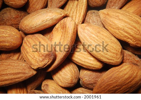 almond close up from above - stock photo