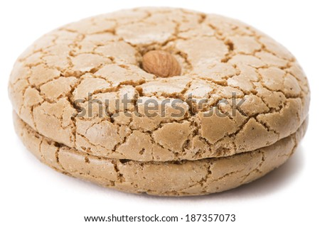 Almond cookie isolated on white background