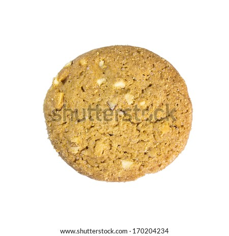Almond cookie on white background