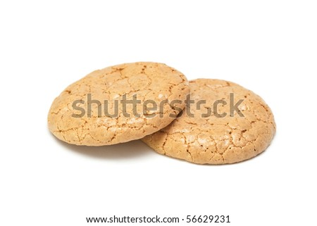 Almond cookies isolated on the white background.
