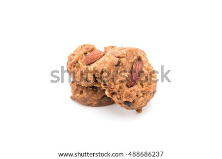 almond cookies on white background