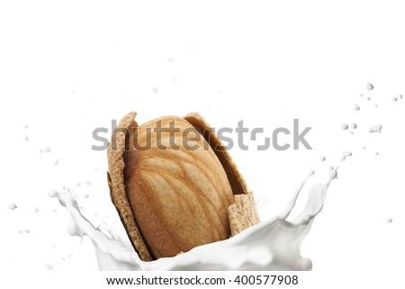 Almond Falling on Milk Splash - stock photo