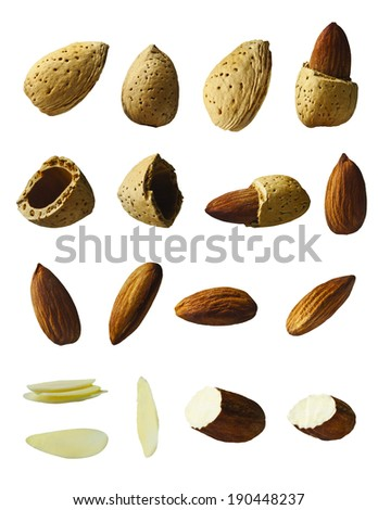 Almond, full, broken, piece and half on the white background