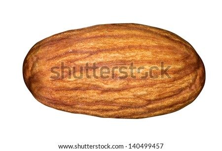 Almond isolated on a white background macro