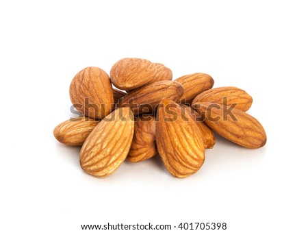 Almond isolated on white - stock photo