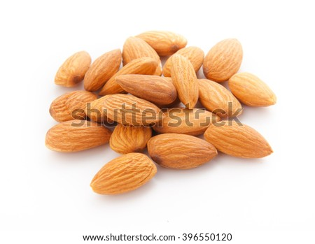 Almond isolated on white background. - stock photo