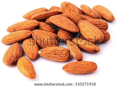 Almond nuts isolated - stock photo