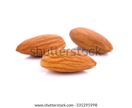 almond nuts isolated on white background  - stock photo