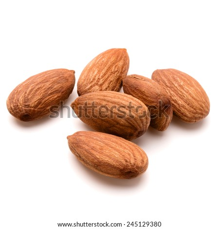 almond nuts isolated on white background close up - stock photo
