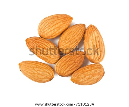 Almond nuts on white background. Top view - stock photo