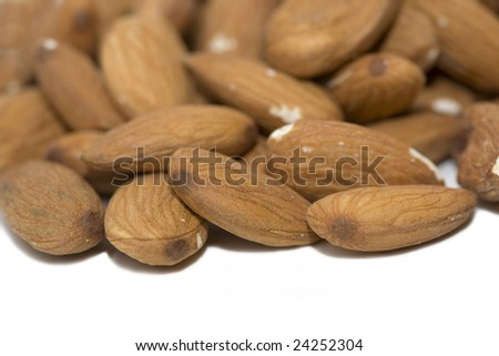 Almond nuts over the white