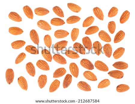 Almond nuts top view isolated on white background - stock photo