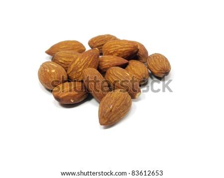 almond on a white background - stock photo