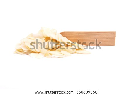 Almond slices on plate - stock photo