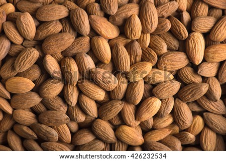 Almonds. Almonds background. Group of almonds. Peeled almonds. Pile of almonds. Almonds kernel. Almonds nuts. - stock photo