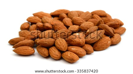 almonds close up on white background  - stock photo