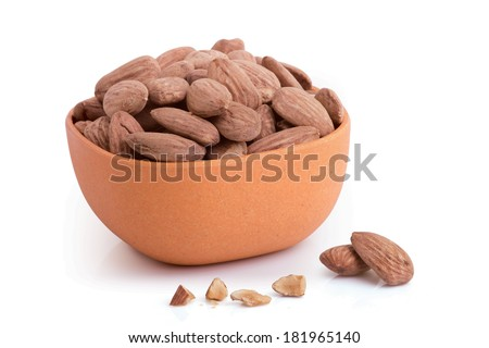 Almonds in a bowl - Nuts series - stock photo