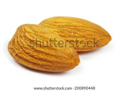 almonds isolated on a white - stock photo