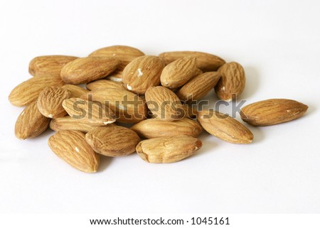 almonds isolated on a white background. - stock photo