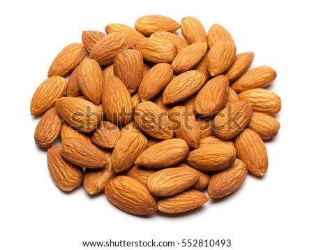 Almonds isolated on the white background.