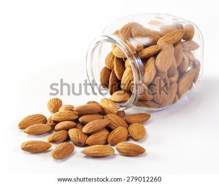 Almonds isolated on white background. - stock photo