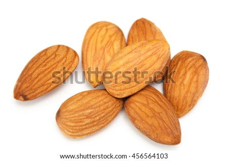 Almonds isolated on white background, almonds nuts isolated