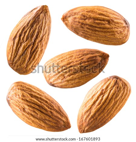 Almonds isolated on white background. Collection