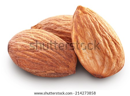 Almonds isolated on white background. Image with maximum sharpness. Clipping path. - stock photo