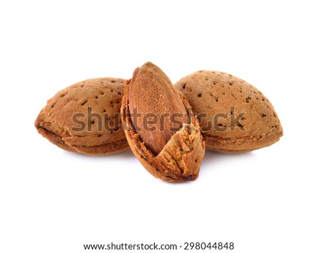 Almonds kernel close up on white background - stock photo