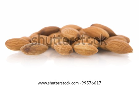 Almonds nuts, isolated on white.