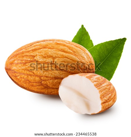 almonds nuts isolated on white background  - stock photo