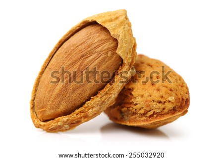 almonds nuts on white background  - stock photo