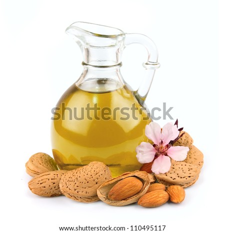 almonds oil isolated on white background