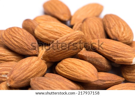 almonds on the white background