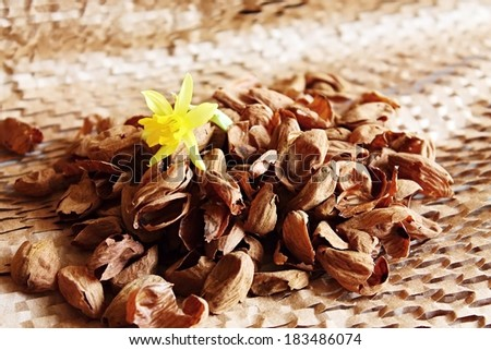 Almonds peelings with bloom inside