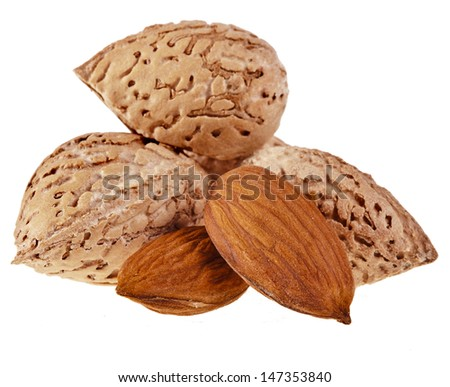 Almonds Seed  Heap isolated on a white background  - stock photo